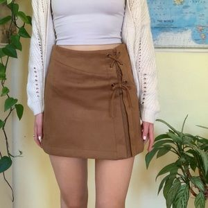 Suede Lace Up Skirt Zara Fall Leather Tie Up Faux